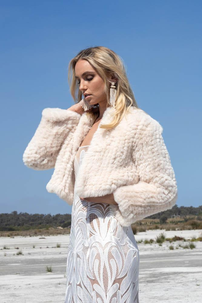 Macie Faux Jacket Long Sleeve in Pearl - Mode & Affaire