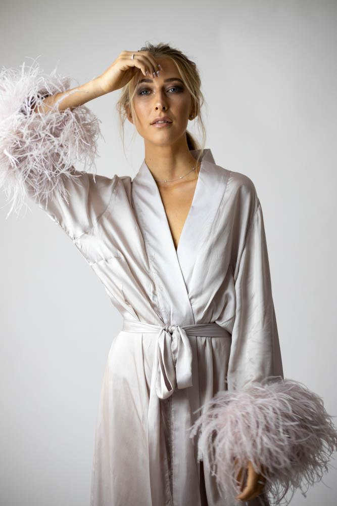 Peggy Bridal Robe in Blush - Mode & Affaire