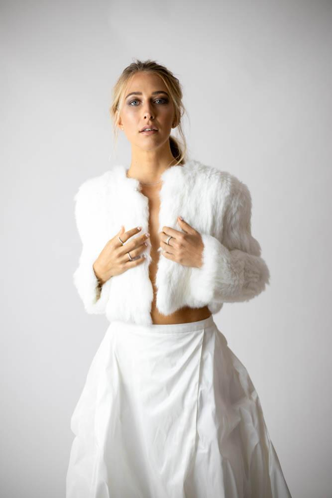 Laci White Fur Jacket in Snow - Mode & Affaire