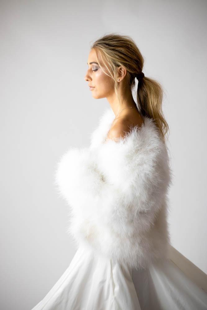 Saville Marabou Jacket in Snow - Mode & Affaire