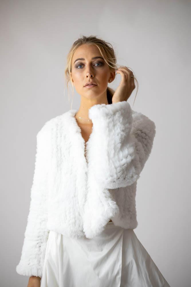 Macie Faux Jacket Long Sleeve in Snow - Mode & Affaire