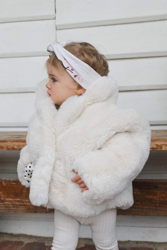 Mini Astrid Faux Coat in Snow - Mode & Affaire