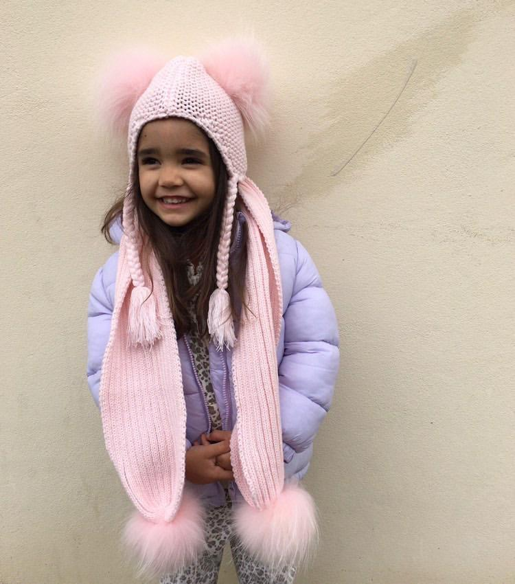 Kids Pom Pom Beanie and Scarf Duo in Peony - Mode & Affaire