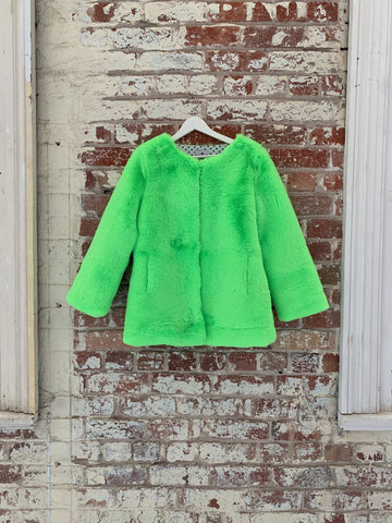 Cleo Faux Sample Coat  Neon Small