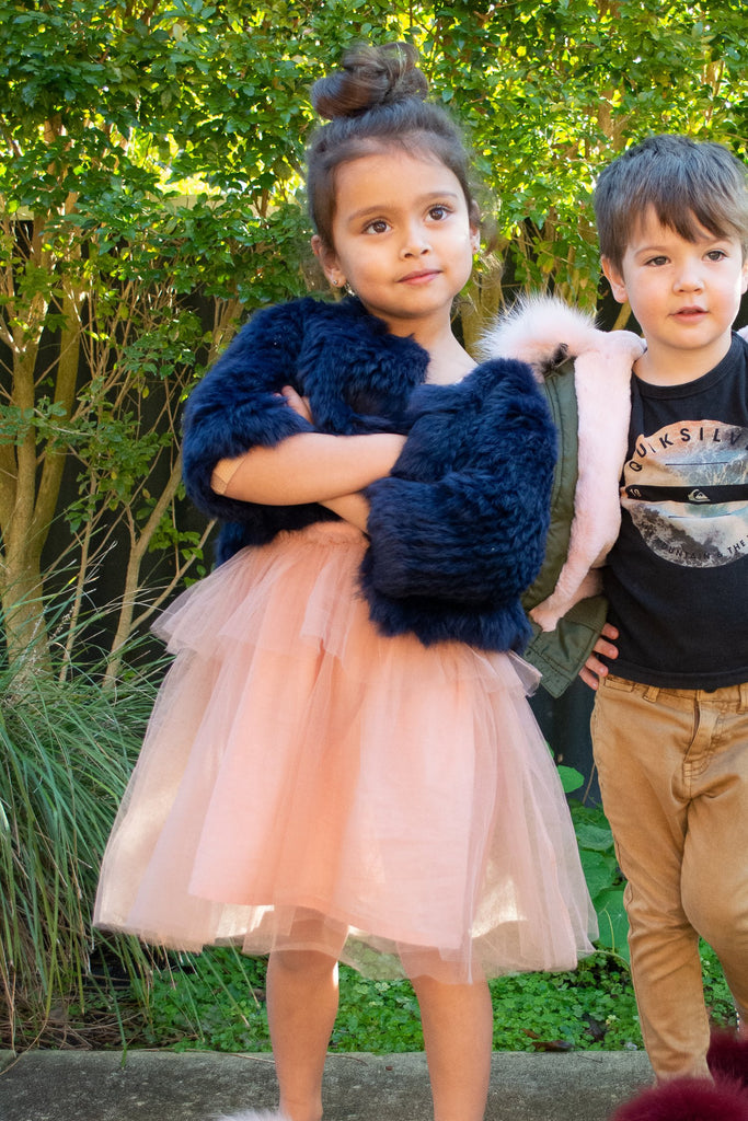 Kids Laci Fur Jacket in French Navy - Mode & Affaire