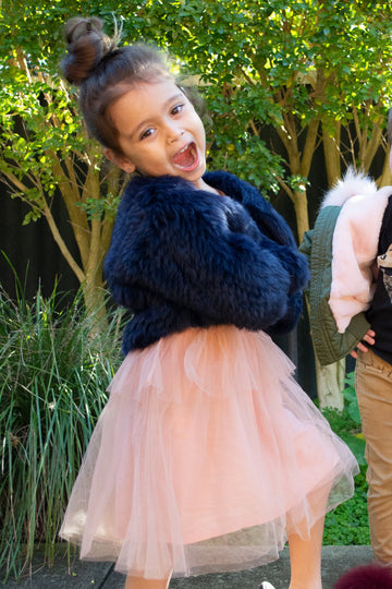 Kids Laci Fur Jacket in French Navy