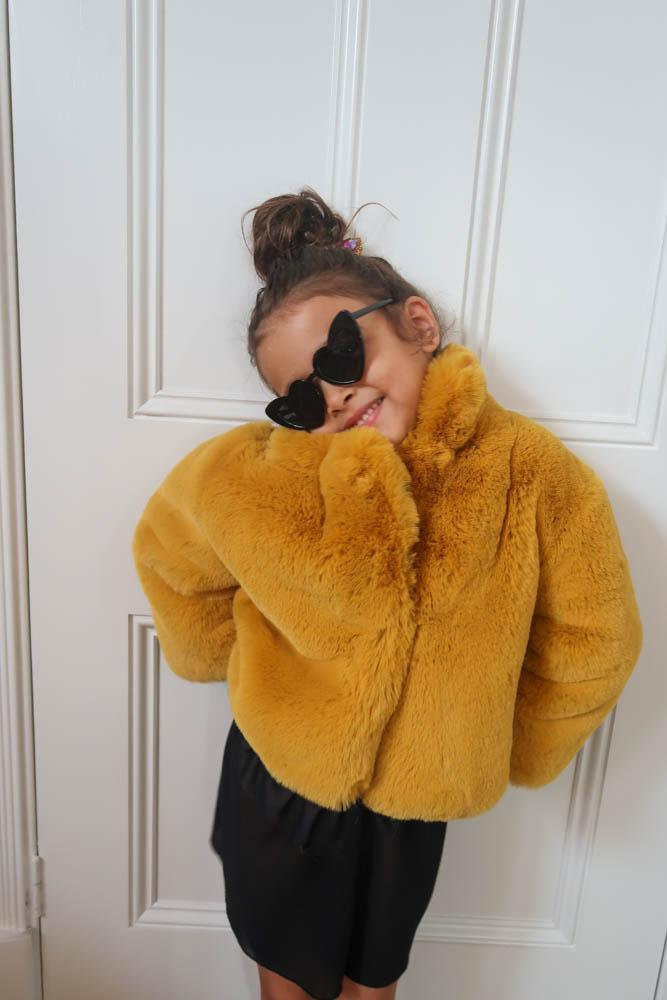 Mini Astrid Faux Coat in Chartreuse - Mode & Affaire