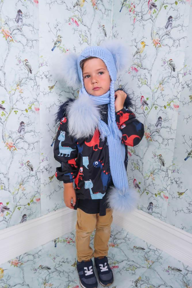 Kids Pom Pom Beanie and Scarf Duo in Bubbles - Mode & Affaire