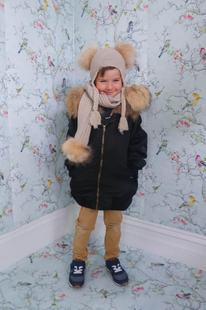 Kids Pom Pom Beanie and Scarf Duo in Oatmeal - Mode & Affaire