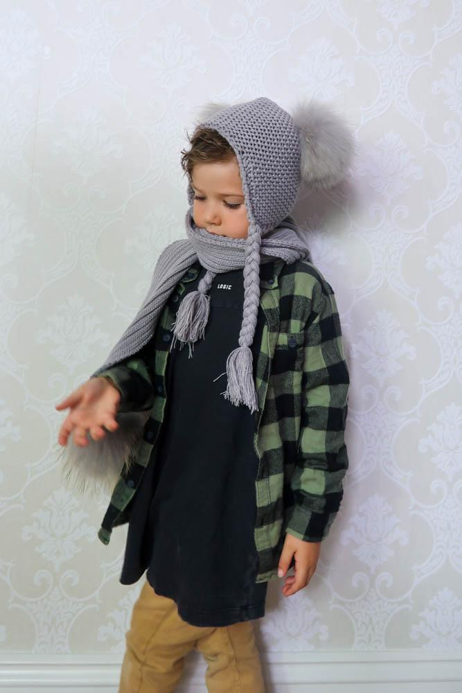 Kids Pom Pom Beanie and Scarf Duo in Dove - Mode & Affaire