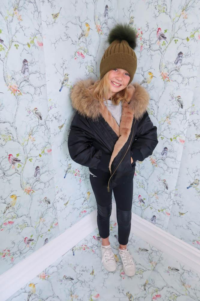Kids Bomber Jacket with Fur Collar in Onyx/Natural - Mode & Affaire