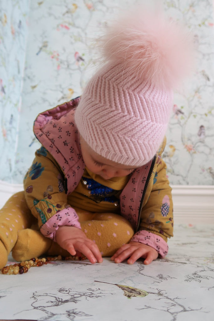 Angora Baby Beanie with Single Fur Pom in Peony - Mode & Affaire