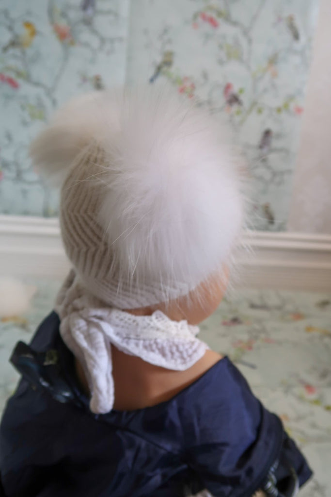 Angora Baby Beanie with Double Fur Pom in Snowflake - Mode & Affaire