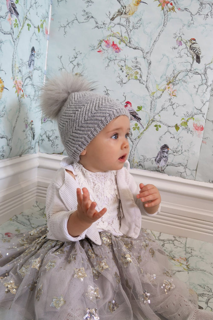 Baby Beanie Single Pom Dove - Mode & Affaire