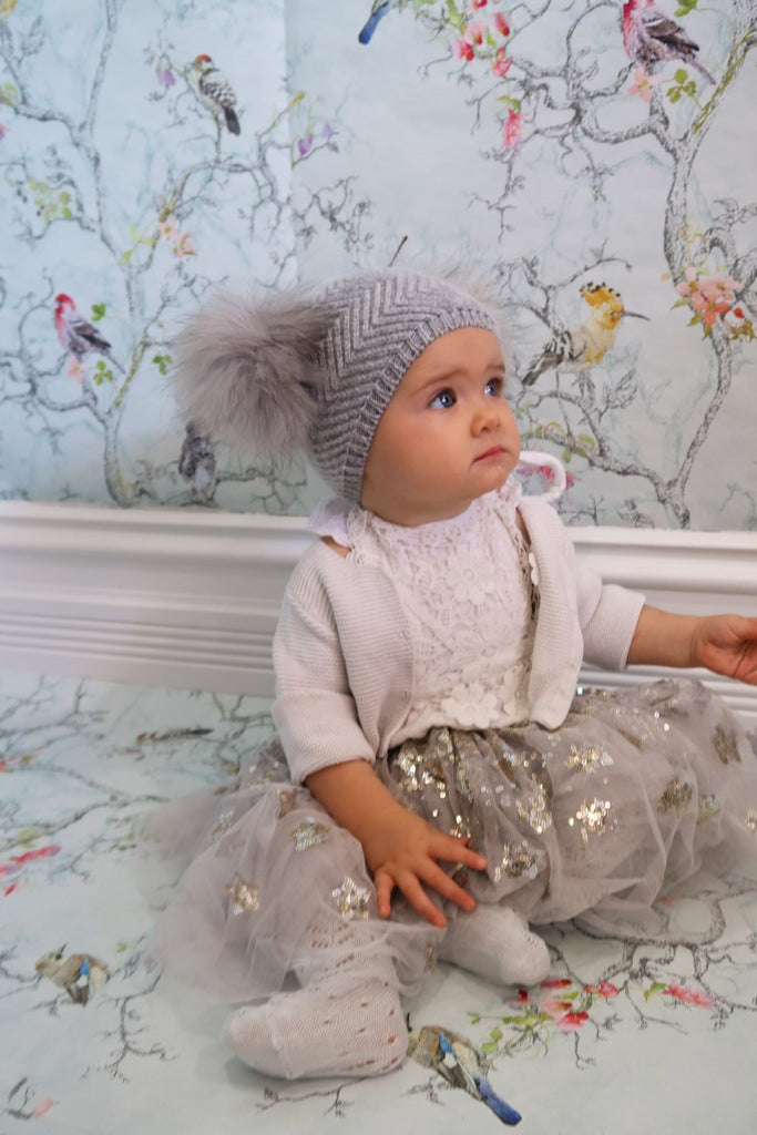 Baby Beanie Double Pom Dove - Mode & Affaire