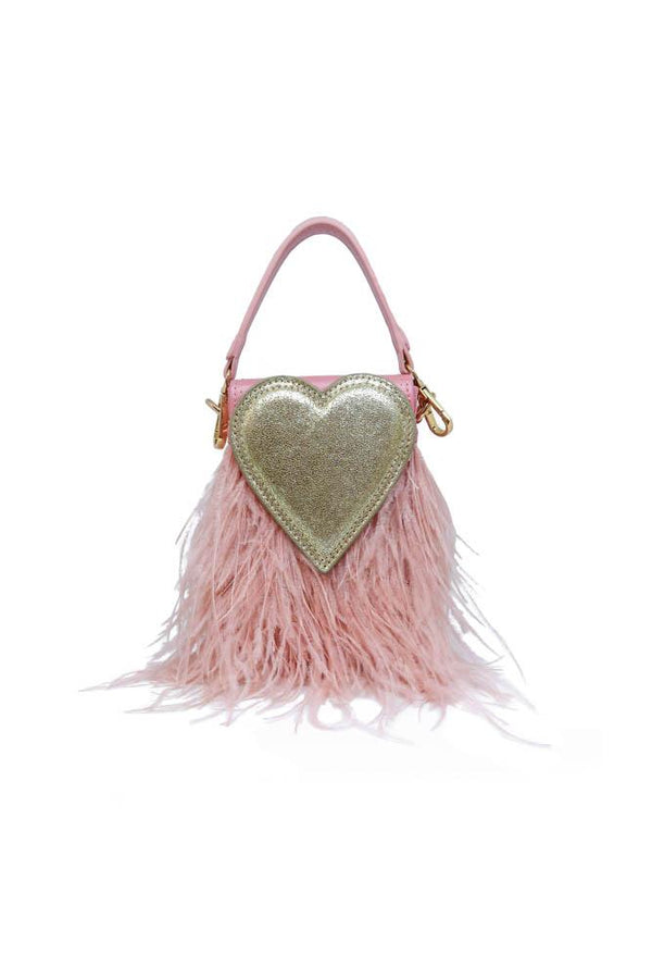 Queen Of Hearts Feather Mini Bag in Pink Champagne - Mode & Affaire