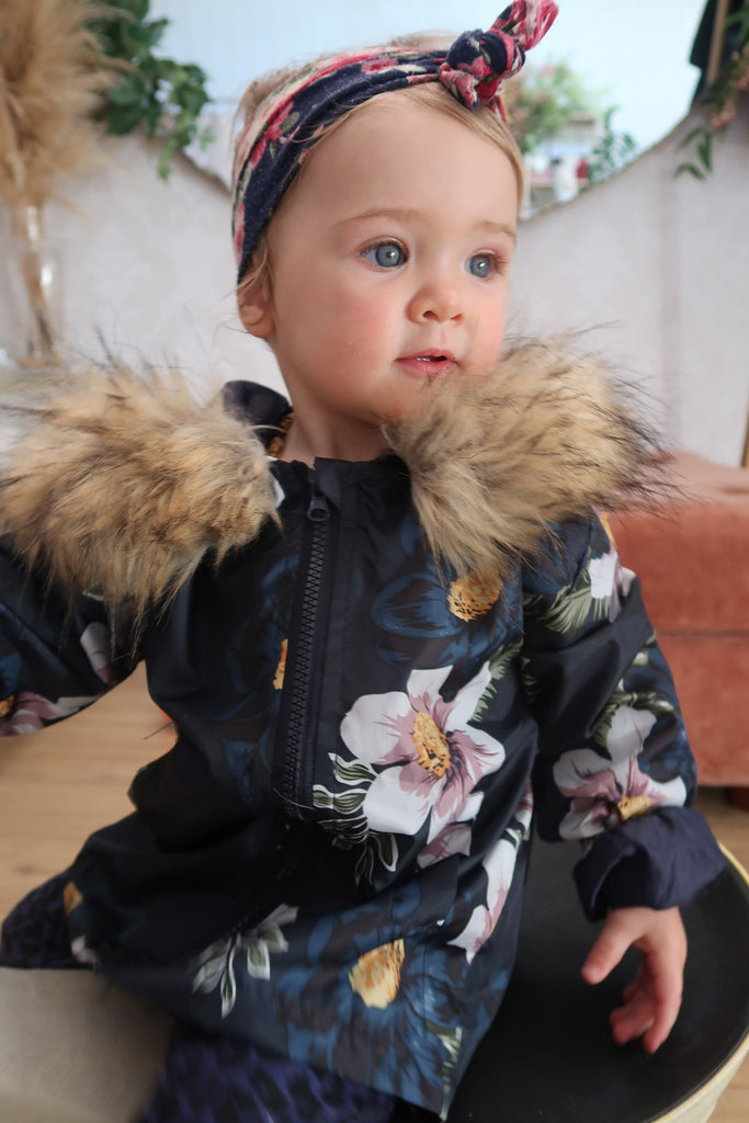Kids Spray Jacket in Midnight Flower - Mode & Affaire