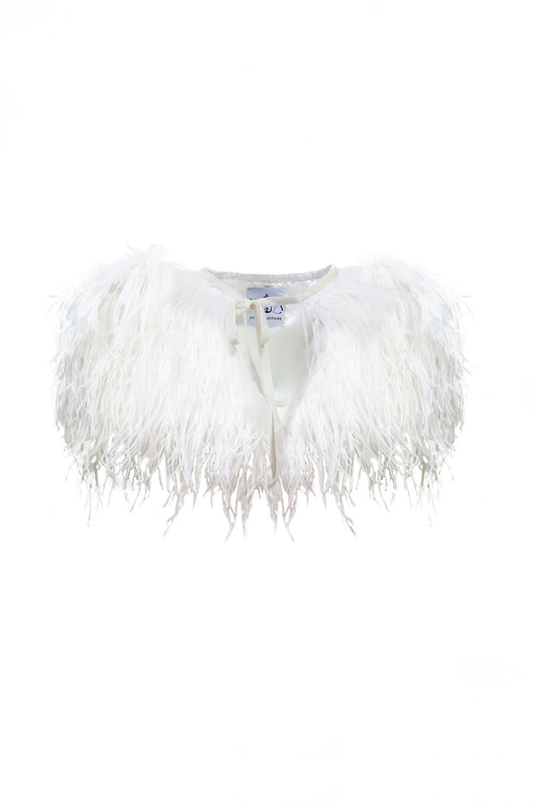 Girls Ostrich Feather Cape - Mode & Affaire