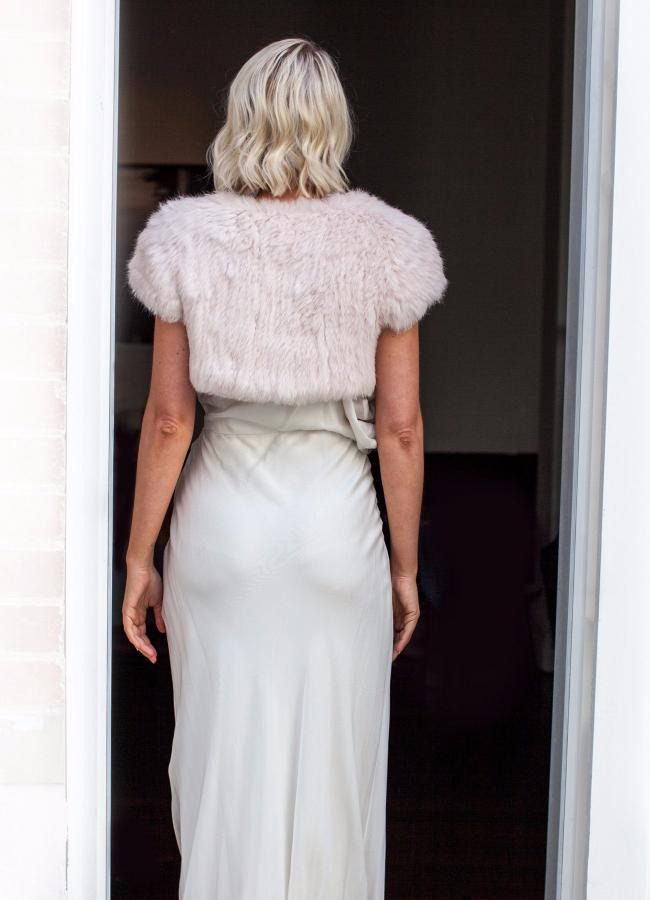 Laci Bridesmaid Fur Bolero in Blush - Mode & Affaire