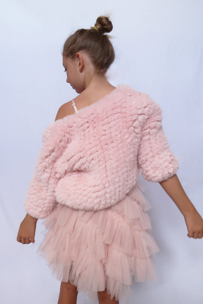 Kids Lucia Faux Fur Jacket in Petal - Mode & Affaire