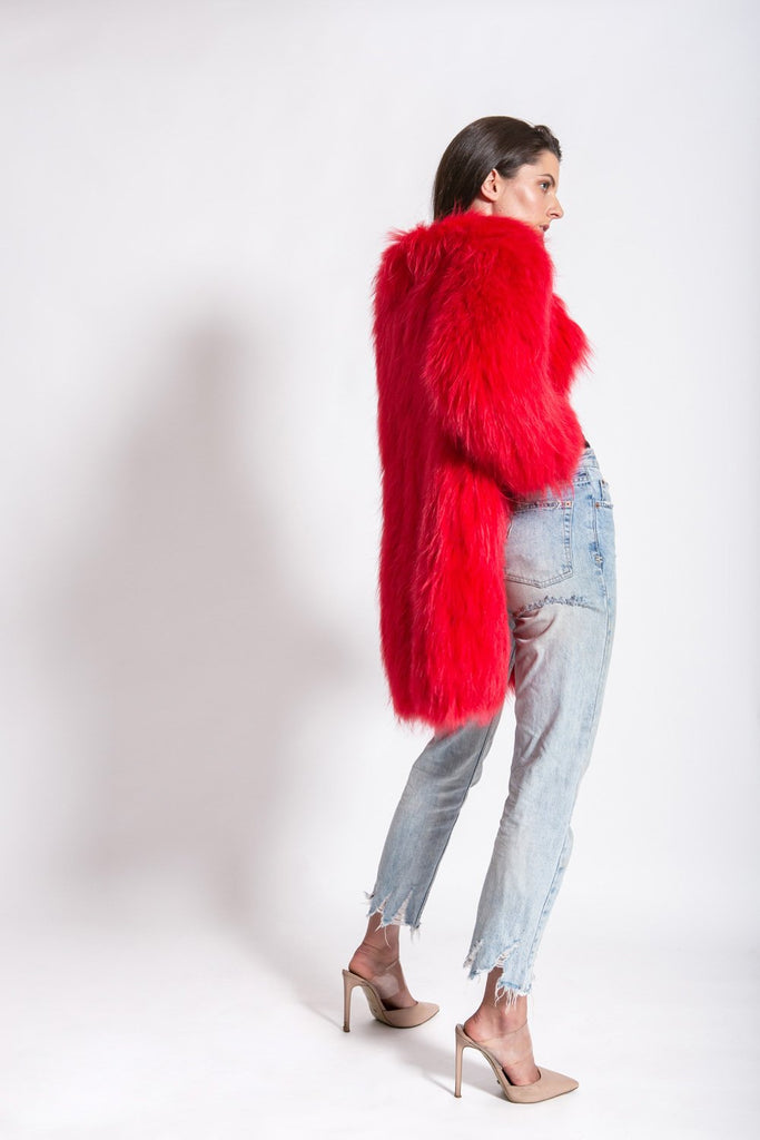 One More Dance Fluffy Jacket in Maraschino - Mode & Affaire