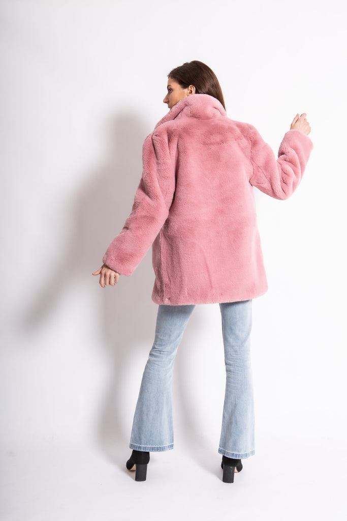 The Wild One Faux Jacket in Rosé - Mode & Affaire