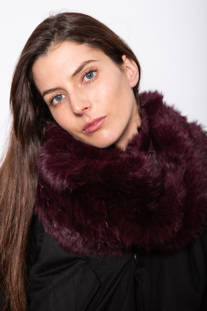 Infiniti Fur Scarf in Mulberry - Mode & Affaire