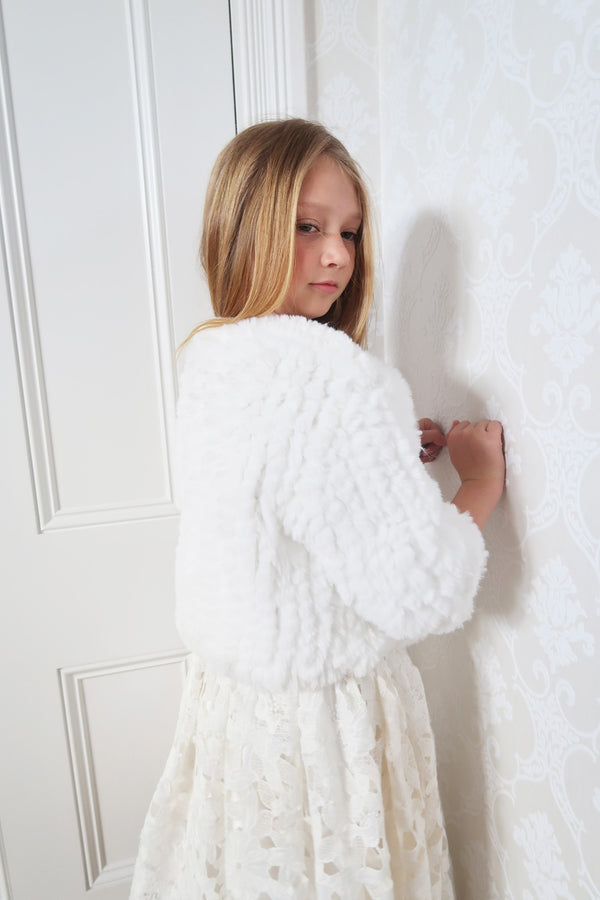 Kids Lucia Faux Fur Jacket in Snow - Mode & Affaire