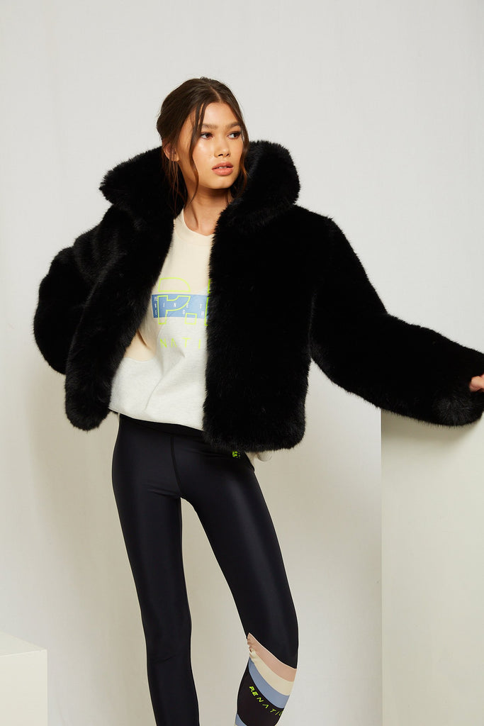 Harlow Faux Fur Jacket in Onyx - Mode & Affaire