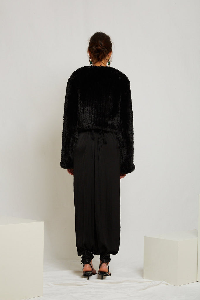 Macie Faux Long Sleeve Jacket in Onyx - Mode & Affaire