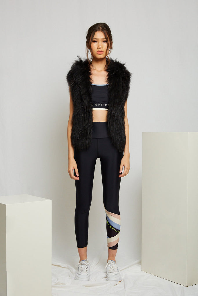 Alba Hooded Fur Vest in Onyx - Mode & Affaire