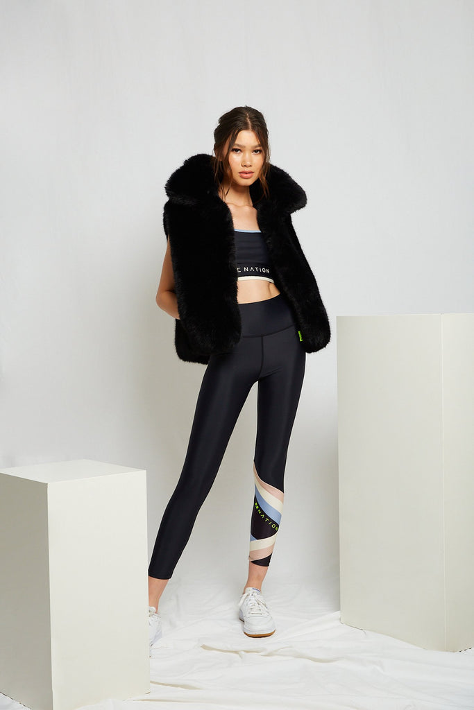 Harlow Faux Fur Vest in Onyx - Mode & Affaire