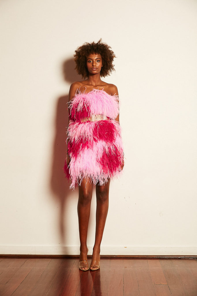 Olympia Love Heart Ostrich Feather Dress - Mode & Affaire
