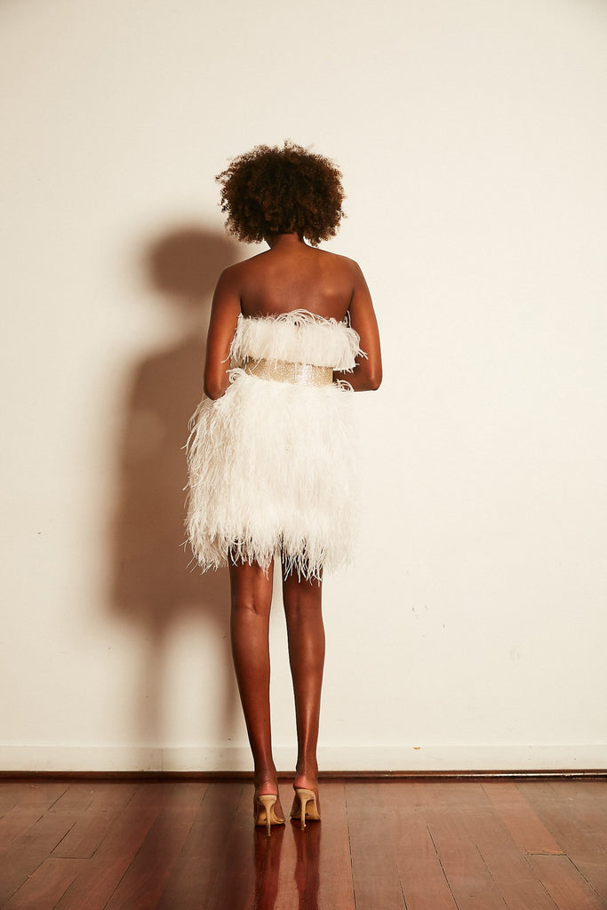 Olympia Ostrich Feather Dress in Snow - Mode & Affaire