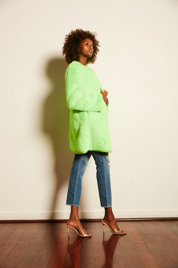 Cleo Faux Jacket in Neon - Mode & Affaire