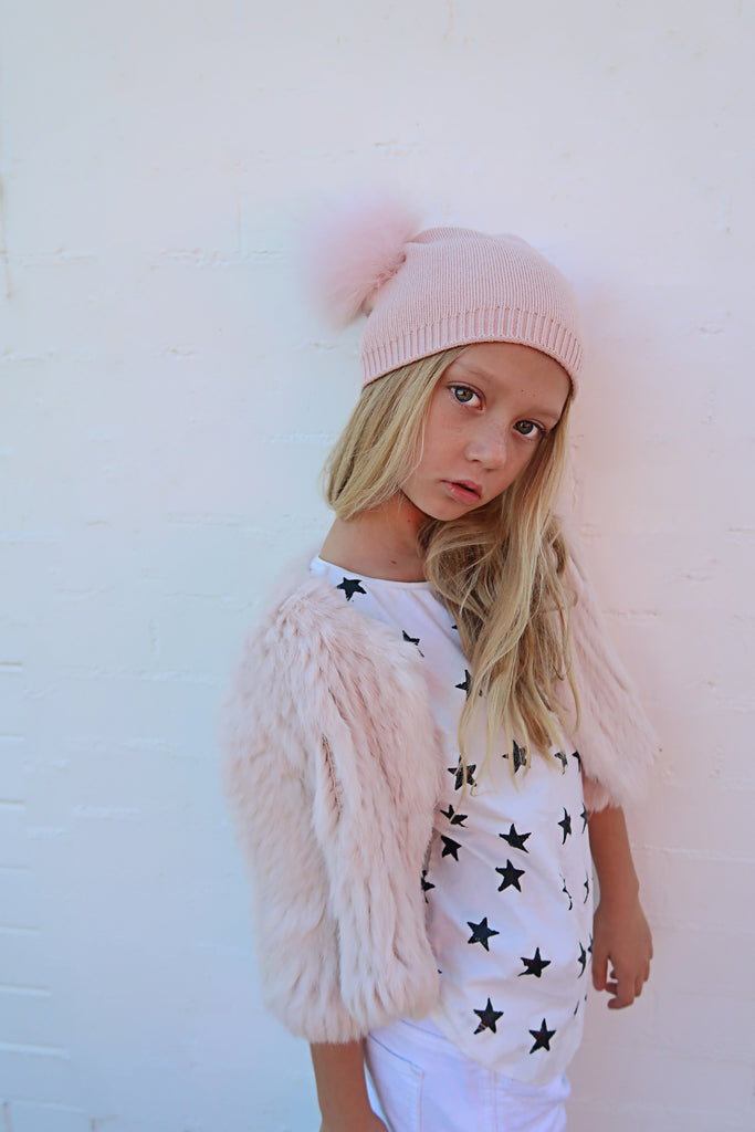 Kids Angora Wool & Fur Pom Pom Beanie in Peony - Mode & Affaire