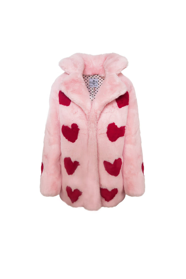 Queen Of Hearts Faux Mid Coat - Mode & Affaire