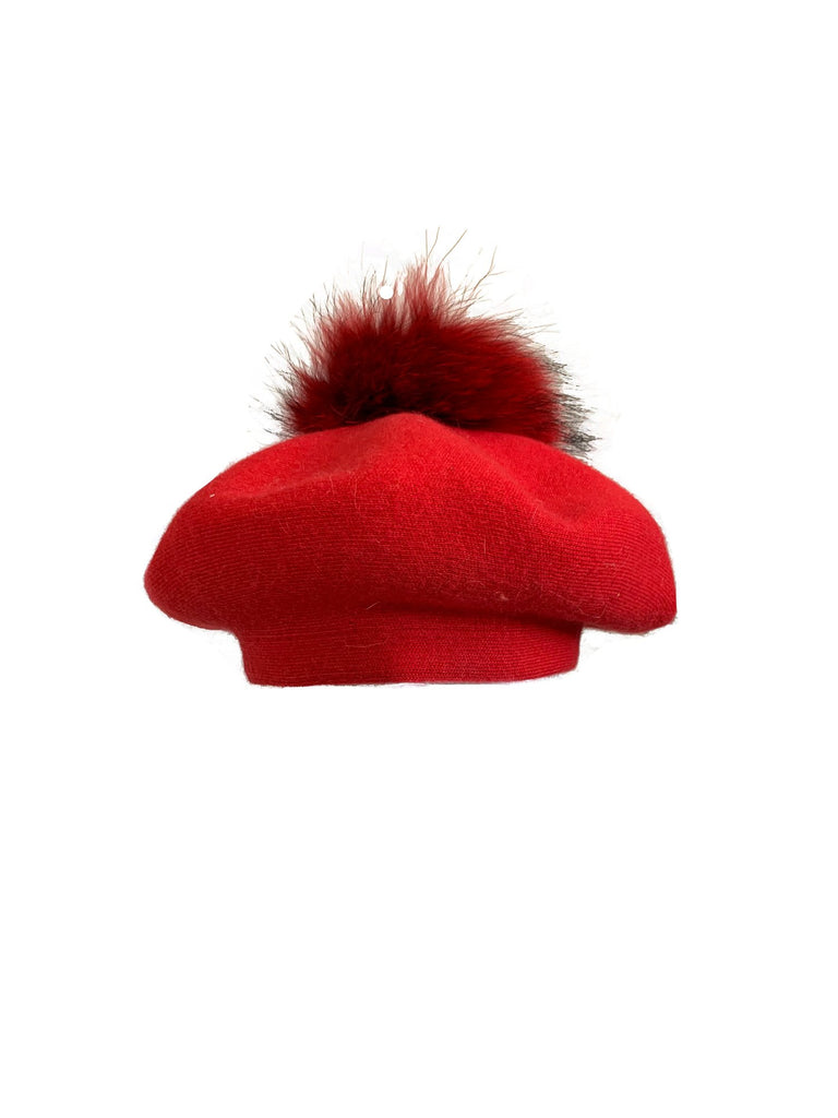 Pom Pom Beret in Ruby Woo - Mode & Affaire