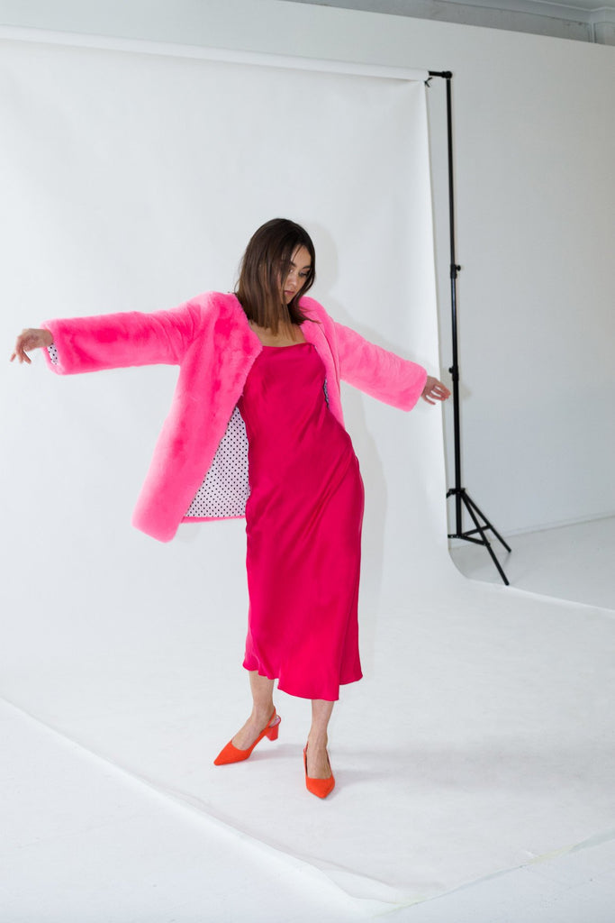 Cleo Faux Jacket in Flamingo - Mode & Affaire