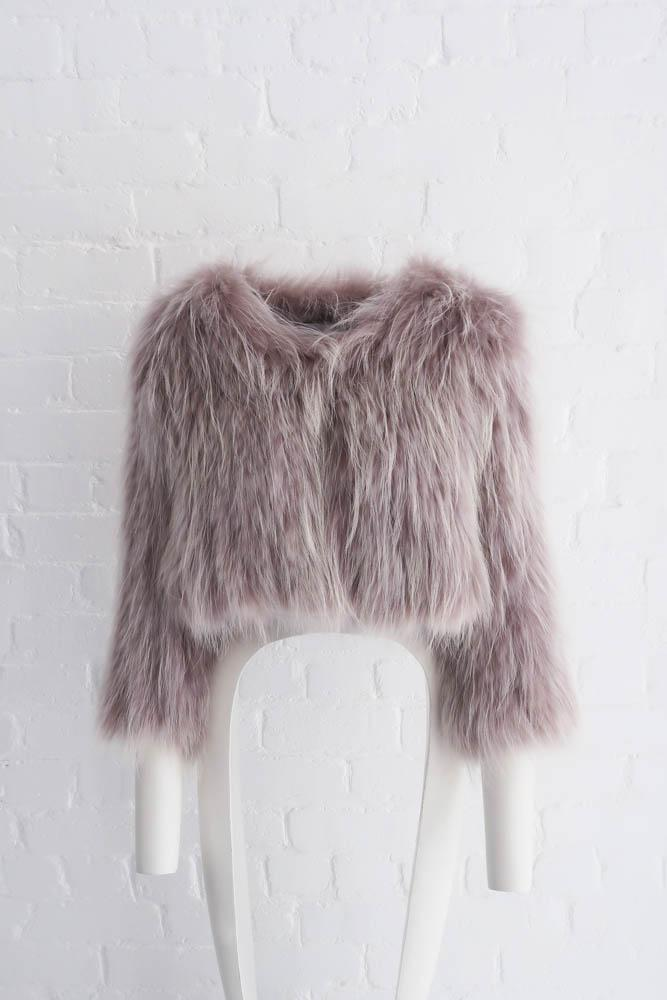 Elodie Cropped Fur Jacket in Grey Snow - Mode & Affaire
