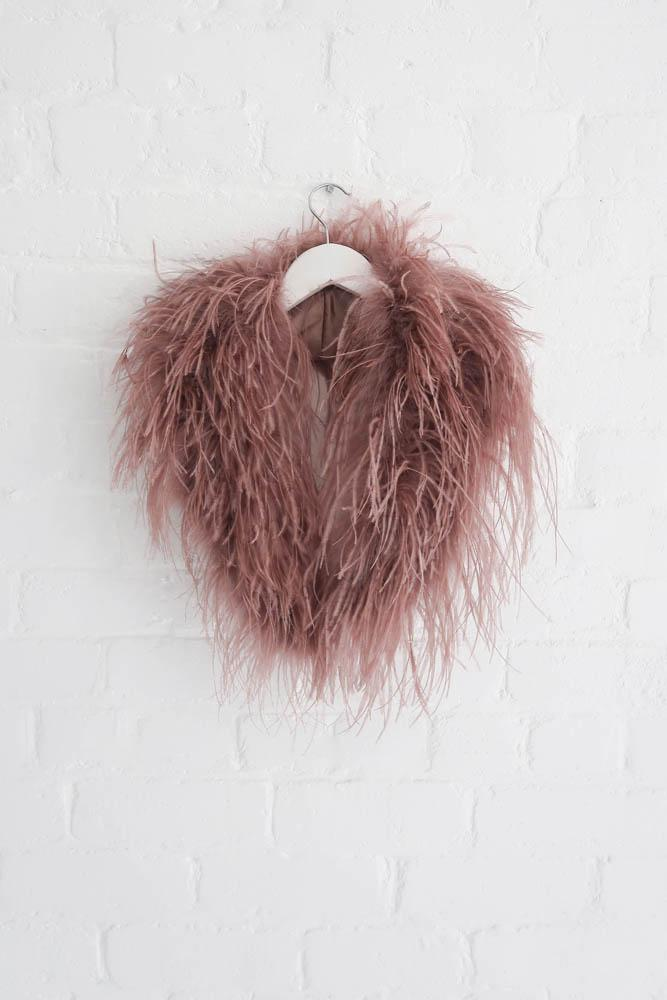 Delphine Ostrich Feather Collar in French Rose - Mode & Affaire