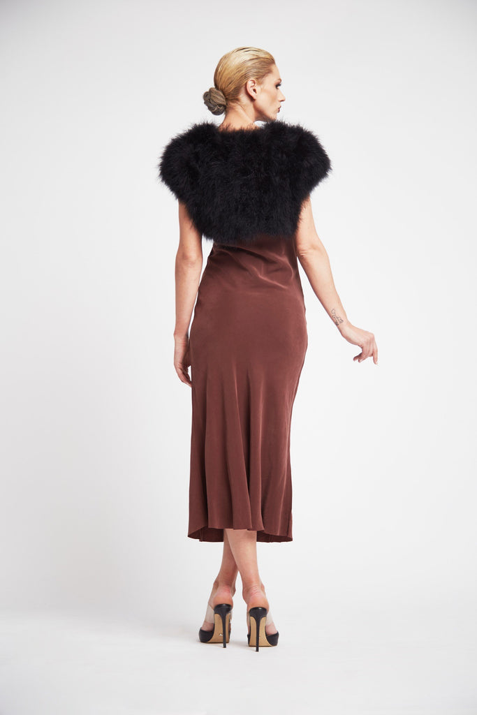 Plume Cropped Shrug in Onyx - Mode & Affaire