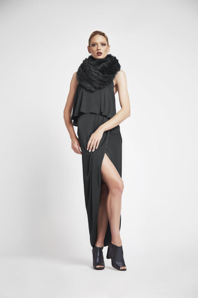 Infiniti Real Fur Scarf in Charcoal - Mode & Affaire