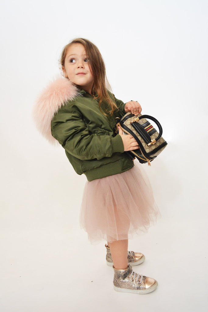 Kids Bomber Jacket with Fur Collar in Khaki/Peony - Mode & Affaire