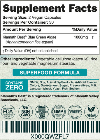 klamath blue green algae supplement facts