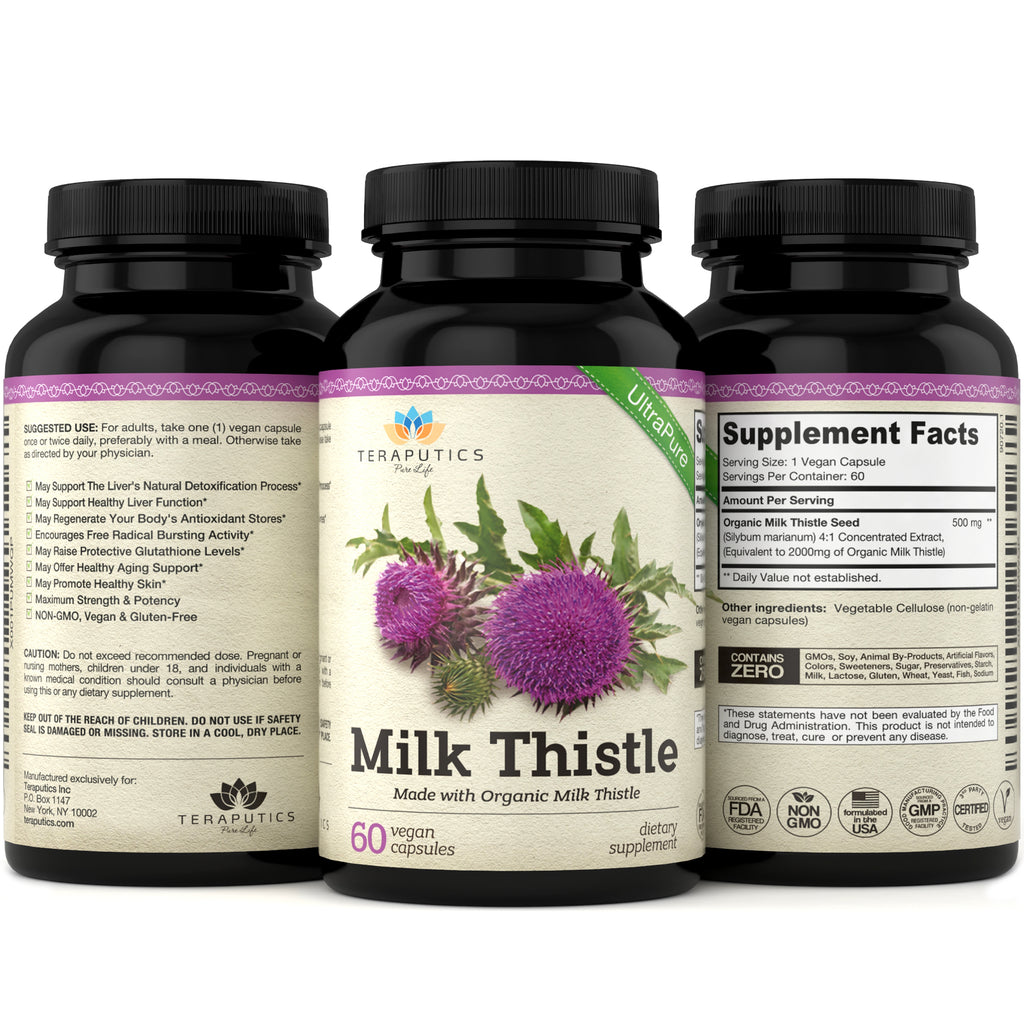 Organic Milk Thistle Non-GMO 2000MG 4X Vegan Extract