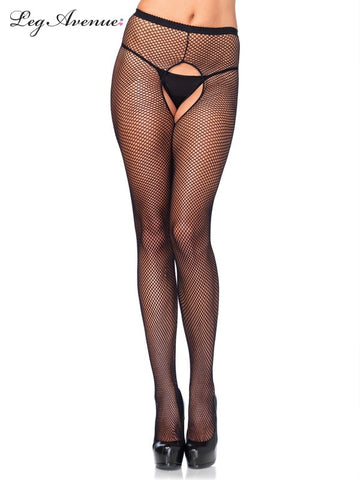 Crotchless Fishnet Pantyhose PLUS SIZE BLACK 1404Q