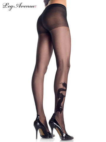 Dragon Tattoo Sheer Pantyhose O/S BLACK 9910