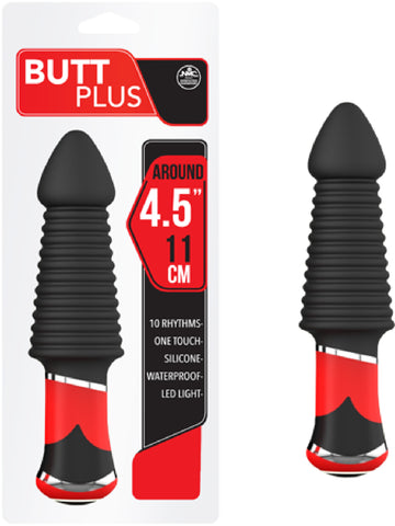 "Butt Plus - 4.5"" Silicone Vibrating Butt Plug - Ribbed (Black)"