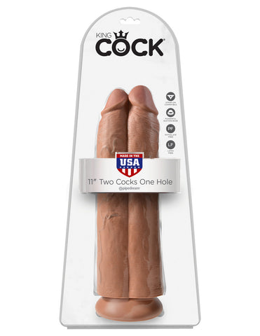 King Cock 11 in. Two Cocks One Hole